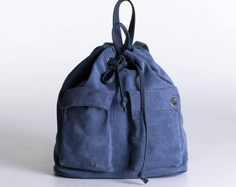 Italian suede leather backpack, blue suede backpack, blue backpack women, leather backpack, women backpack, blue leather backpack