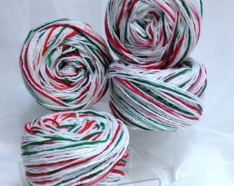 Christmas Red Heart Worsted Yarn Destash Candy Cane Yarn Double Stranded White & Variegated Cinnamon Red Spearmint Green Acrylic Yarn Bundle