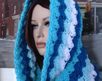 Handmade Striped Infinity Scarf Extra Long Turquoise & White Striped Cowl in Thick Blanket Stitch, Crocheted Scarf for Winter, Ready to Ship