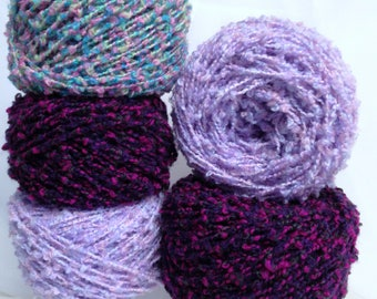 Colorful Boucle Yarn Cakes, Pastel Pink Floral Purple Deep Purple Bright Raspberry Green Apple Nubby Yarn Bundle  in Springtime Colors
