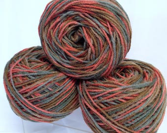 Variegated Red Heart Yarn Bundle Fall Autumn Colors Variegated Yarn Destash Vintage Yarn Cakes for Knitting Crocheting Weaving Fiber Art
