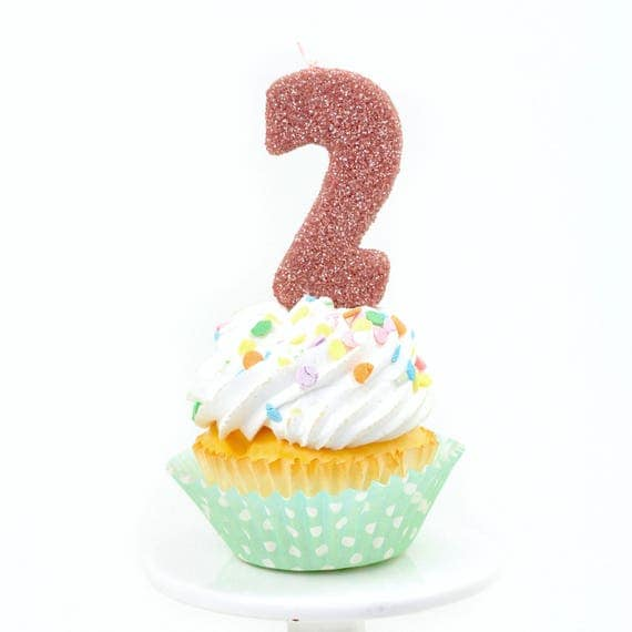"""3"""" Number 2 Candle, Giant 2 Candle, Giant 2 Candle, Second Birthday, Rose Gold Candle, Gold Birthday Candle, Large Gold Candle"""