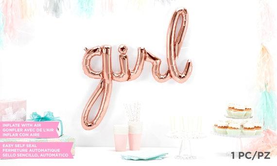 Giant Girl Balloon, Script Balloon, Rose Gold Baby Shower Balloon, Copper Balloon, Baby shower Decor, Baby Photo Prop, Baby Announcement