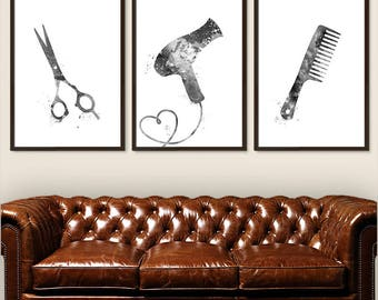 Hair Stylist Prints Set of 3, Hair Stylist Poster, Hair Salon Art, Barber Print, Hairdresser Wall Art Watercolor Black and White (A0641)