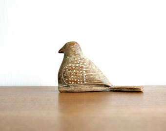 Vintage Carved Wood Bird Figurine, Folksy Wood Bird, Wood Folk Art Bird