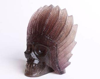Natural Purple Gray Fluorite Carved Indians Skull,Crystal Healing ,Pretty Beautiful crystal head J743