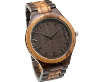 Wooden Watch Engrave Black & Zebra / Men Wood Watch Personalized 5th Anniversary Birthday Wedding Graduation Christmas Day Groomsmen Gift