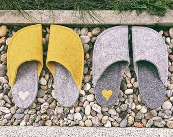 Matching House Shoes - slippers - handmade indoor shoes - felted slippers - woolen shoes - Couples gift idea, Valentine's day gift idea