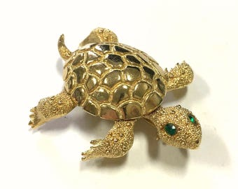 "Vintage 1960's MONET ""TORTUE"" Sea Turtle Brooch Gold Tone With Green Rhinestone Eyes"
