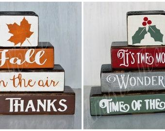 Reversible Holiday Wood Blocks // Reversible Season Wood Blocks // Wooden Blocks // Fall Decor // Christmas Decor // Rustic Home Decor //