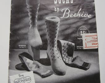 Vintage Hand Knit SOCKS By BEEHIVE Knitting Pattern Book, Vintage Knitting Patterns, 1940s Knitting Patterns, Knitted Sock Patterns
