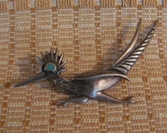 Vintage Sterling Silver & Turquoise Southwest Native American Road Runner Brooch