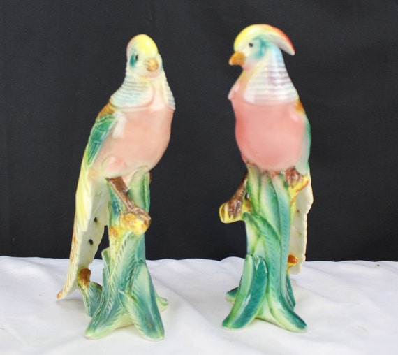 Vintage Pair Majolica Figurines Birds of Paradise Tropical Birds Japan