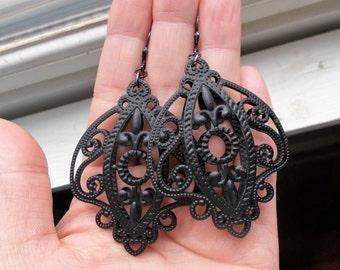 Large Fleur-de-Lys solid sterling silver leverback earrings
