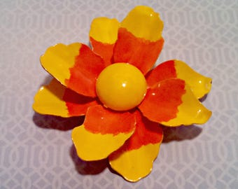 Vintage Flower Brooch, Large Enamel Flower Brooch in Yellow and Orange, Mid Century Flower Power, Circa 1960s, Includes Gift Box