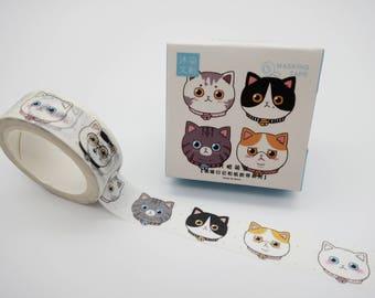 Cat face washi tape, cat washi tape, cute washi tape, cat emoji tape, cute planner tape, cat masking tape, kitty emoticon, kawaii washi tape