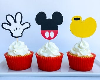 Mickey mouse cupcake toppers | Mickey mouse party | Disney party | Cupcake toppers | Mickey Mouse Decor | First birthday decor