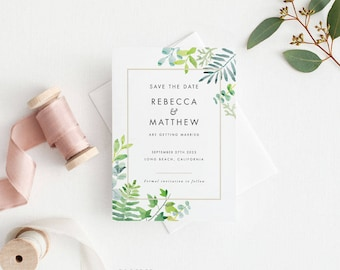 Printable Save The Date Printable - Modern Greenery Save the Date Printable - Wedding Invites PDF - Letter or A4 Size (Item code: P1023)