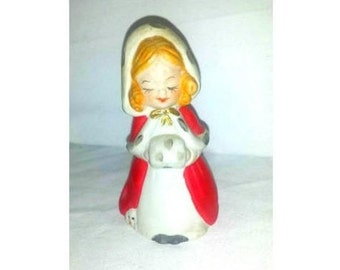Vintage Christmas Caroler Girl Bell, Bisque Porcelain Holiday Bell,1980,MWC,Kitsch,Girl Figurine Bell, Christmas Bell, Girl, Hand Muff Bell