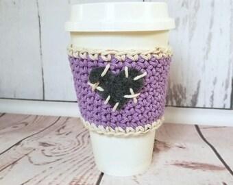 Heart Cup Cozy, Rustic Cozy, Coffee Cup Sleeve, Coffee Cup Cozy, Cup Sweater, Cup Cozy, Crochet Coffee Cup Sleeve, Coffee Cozy, Coffee Cozie