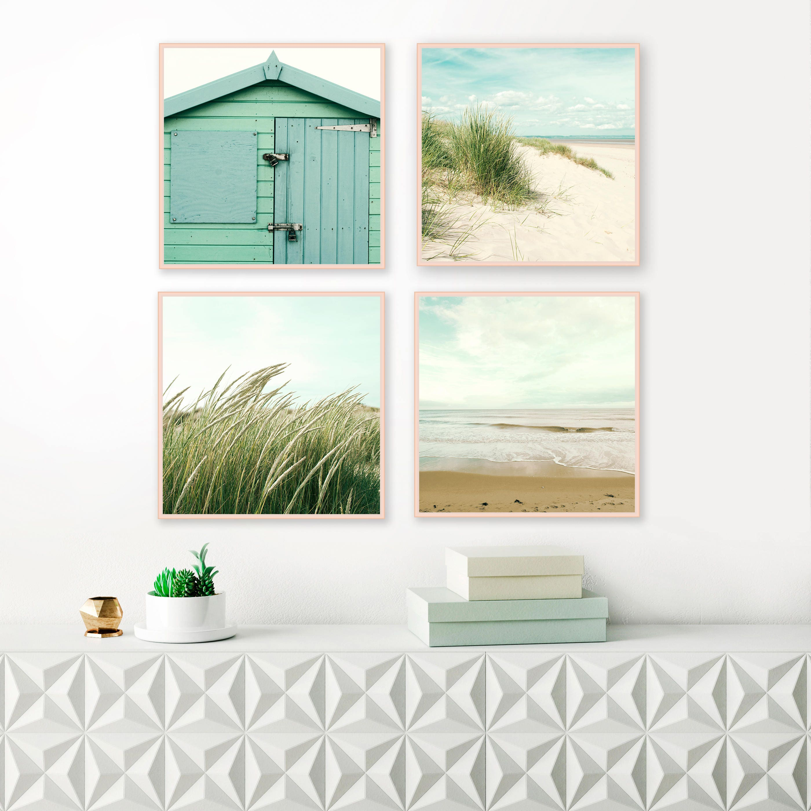 Beach gallery wall set of 4 prints printable gallery for Beach house prints