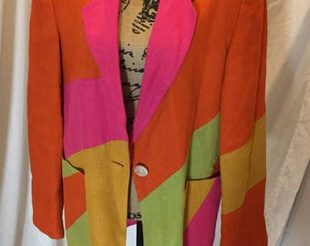 Vintage 80s International Scene Blazer Linen Bright Color Block Orange Pink Green Lined