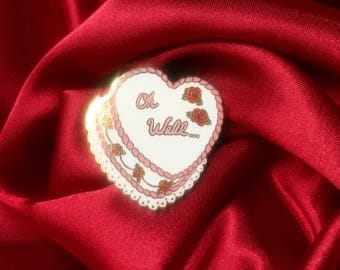 "Oh Well Vintage Heart Cake 1.25"" Enamel Lapel Pin"