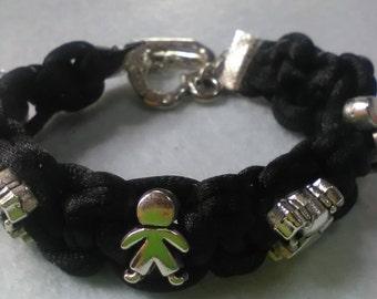 Black satin lanyard bracelet with macramè knots and charms