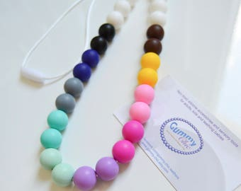 Multicolor Teething Necklace - Breastfeeding Necklace - Chew Jewelry - Silicone Teething Necklace - Rainbow Chew Beads - Chewelry for Moms