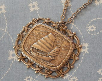 Sail Away Pirate Boat Antique Silver Pendant Necklace