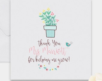 Thank you teacher card, thank you card, personalised card, personalised teacher card, card for teacher, teacher thank you, teacher gift
