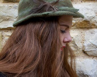 Vintage green feathered hat