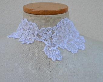 Bridal lace necklace white, embroidered, crew neck white wedding lace white lace Choker, white wedding Choker, necklace