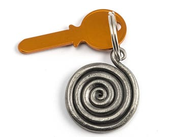 Boho spiral keychain - forged iron keychain - Boho keychain