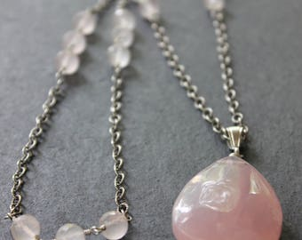 Natural Rose Quartz and Sterling Silver Necklace