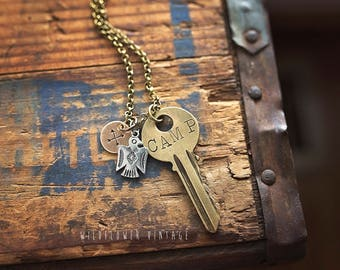 CAMP Vintage Key Necklace | Hand Stamped Repurposed  Outdoorsy Camping Gift Thunderbird Crossed Arrows