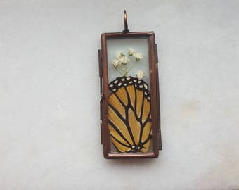 Stained Glass Locket with Real Monarch Butterfly Wing and Dried Flora- Cruelty Free