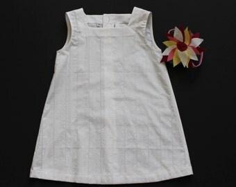 girls dress, tunic size 5 white cotton modern European style with matching headband, 2 piece set