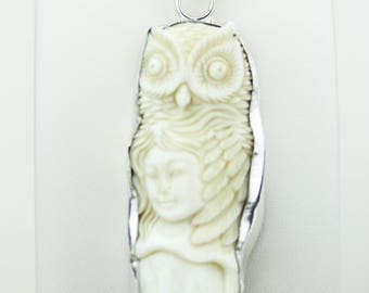 Owl Lady TOTEM Goddess Face Moon Face Bone Carving 925 S0LID Sterling Silver Pendant + 4MM Chain p4316