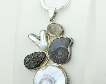 Pure Silver Art of Workmanship! Ammonite Fossil Dursy Citrine Pearl 925 S0LID Sterling Silver Pendant + 4MM Snake Chain Mp459