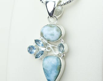 Larimar Swiss Blue Topaz 925 S0LID Sterling Silver Pendant + 4MM Snake Chain p4198