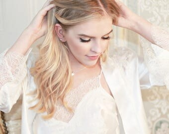 Luxury beautiful  lingerie and loungewear handmade in England. Chantilly lace and luxury silk ivory colour bridal robe