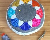 EPP Pincushion Kit in Rainbow prints - English Paper-Pieced Pincushion, Patchwork Pincushion Kit, Alison Glass' Diving Board