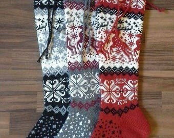long knit socks Wool socks Norwegian socks Fair Isle Christmas socks socks with reindeer Winter socks Warm socks gift to man gift to woman