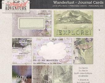 Travel digital journal cards instant download, printable collage sheet, digital scrapbooking vintage ephemera, mountains landscapes overlays