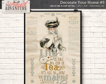 Kitchen Decor, Digital Download, Printable Wall Art, Victorian Style, Home Decor, Tea, Cakes, Recipes, Motivational Quote, Vintage Lady