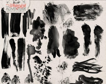 Photoshop Brushes, Digital Brush Strokes, Commercial Use OK, Hand Painted Photoshop tools, Instant Download, Watercolor, Acrylic Paint