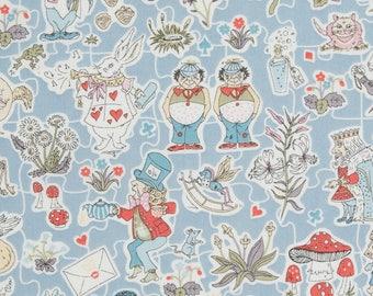 "Gallymoggers Reynard C Liberty Fabric tana lawn scrap white blue red grey pink 10"" x 15"" square (25,4 cm x 38 cm) The Weavers Mill"