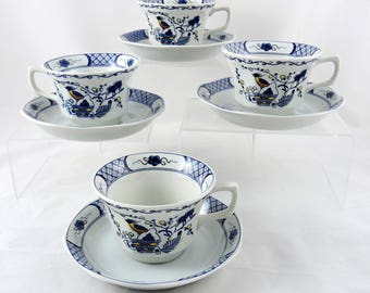 Wedgwood Volendam Cups & Saucers Set of 4 Blue White Teacups China Bird Lattice Georgetown Collection China