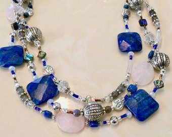 Multi Strand Necklace,  Lapis Necklace, Rose Quartz Necklace, Labradorite Necklace.